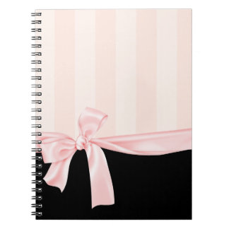 Parisian Girly Pink Stripes & Light Pink Bow Notebook