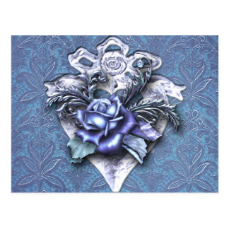 PARISIAN GOTHIC 1897: ROMANTIC BLUE POSTCARD