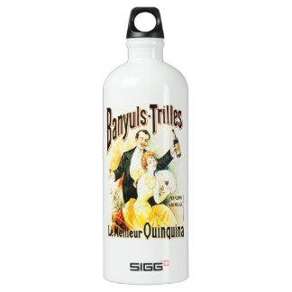 Parisian high society couple drinking vintage aluminum water bottle