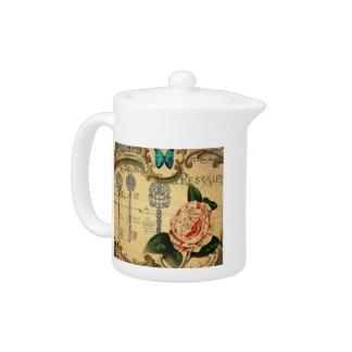 Parisian keys Vintage Camellia French Botanical Teapot