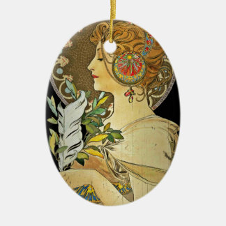 Parisian Lady and Feather 1899 Ceramic Ornament