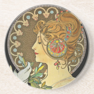 Parisian Lady and Feather 1899 Drink Coaster