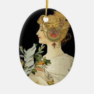 Parisian Lady and Feather Ceramic Ornament