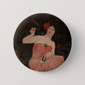 Parisian Lady on Black Button