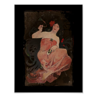 Parisian Lady on Black Poster