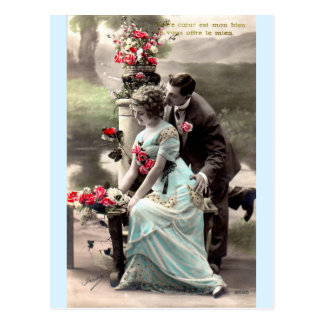 Parisian Love In The Park Tinted Vintage Postcard