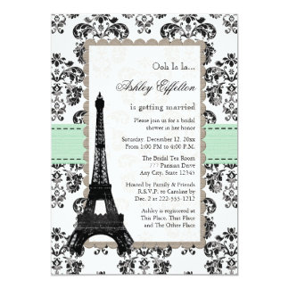 Parisian Mint and Black Bridal Shower Invitations
