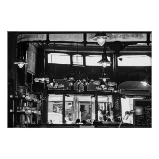 Parisian old cafe interior Poster
