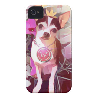 """Parisian Pale Pink Pooch """"W"""" iPhone 4 Cover"""