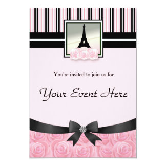 Parisian party Eiffel tower pink roses invitation