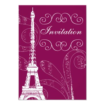 Parisian pink damask  wedding invitation