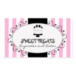 Parisian Pink Stripes Cupcake Cake Bakery Double-Sided Standard Business Cards (Pack Of 100)