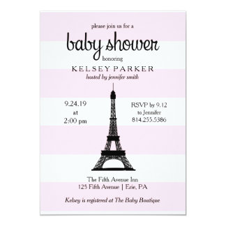 Parisian Pink Stripes Eiffel Tower Baby Shower Card