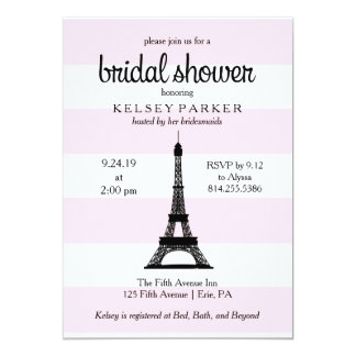 Parisian Pink Stripes Eiffel Tower Bridal Shower Card