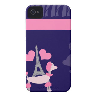 Parisian Poodles in Pink and Purple iPhone 4 Case-Mate Case