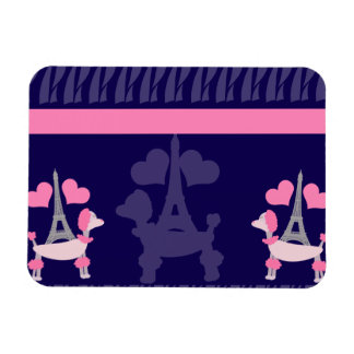 Parisian Poodles in Pink and Purple Magnet