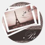 Parisian Postcards Classic Round Sticker