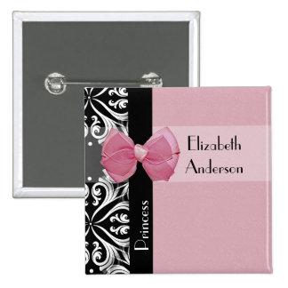 Parisian Princess Pink Ribbon Bow With Name Pinback Button