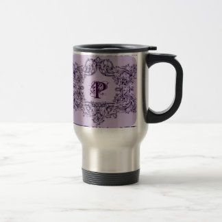 PARISIAN PURPLE BAROQUE FRAME WITH INITIAL 15 OZ STAINLESS STEEL TRAVEL MUG