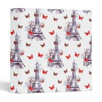 Parisian Romantic Purple Eiffel Tower Butterflies 3 Ring Binder