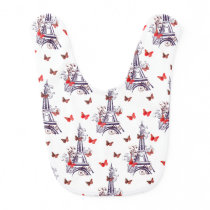 Parisian Romantic Purple Eiffel Tower Butterflies Baby Bib