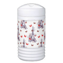 Parisian Romantic Purple Eiffel Tower Butterflies Beverage Cooler