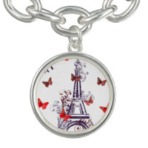 Parisian Romantic Purple Eiffel Tower Butterflies Bracelet