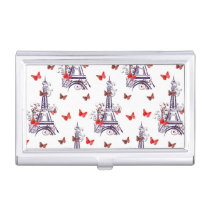 Parisian Romantic Purple Eiffel Tower Butterflies Case For Business Cards