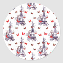 Parisian Romantic Purple Eiffel Tower Butterflies Classic Round Sticker