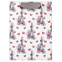 Parisian Romantic Purple Eiffel Tower Butterflies Clipboard