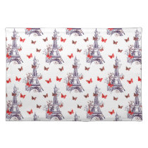 Parisian Romantic Purple Eiffel Tower Butterflies Cloth Placemat