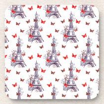 Parisian Romantic Purple Eiffel Tower Butterflies Coaster