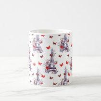 Parisian Romantic Purple Eiffel Tower Butterflies Coffee Mug