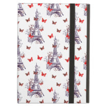 Parisian Romantic Purple Eiffel Tower Butterflies Cover For iPad Air