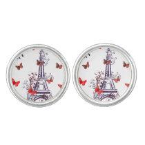 Parisian Romantic Purple Eiffel Tower Butterflies Cufflinks