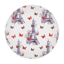 Parisian Romantic Purple Eiffel Tower Butterflies Cutting Board