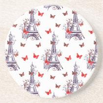 Parisian Romantic Purple Eiffel Tower Butterflies Drink Coaster