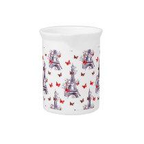 Parisian Romantic Purple Eiffel Tower Butterflies Drink Pitcher