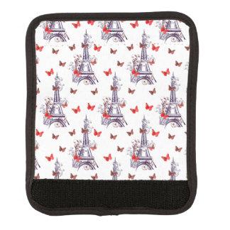 Parisian Romantic Purple Eiffel Tower Butterflies Handle Wrap