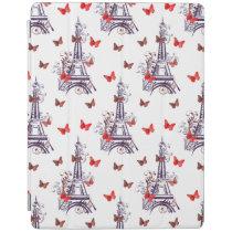 Parisian Romantic Purple Eiffel Tower Butterflies iPad Smart Cover
