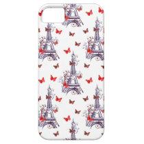 Parisian Romantic Purple Eiffel Tower Butterflies iPhone SE/5/5s Case