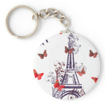 Parisian Romantic Purple Eiffel Tower Butterflies Keychain