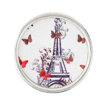 Parisian Romantic Purple Eiffel Tower Butterflies Lapel Pin