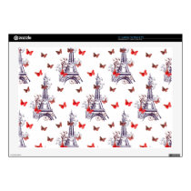 Parisian Romantic Purple Eiffel Tower Butterflies Laptop Skin