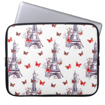 Parisian Romantic Purple Eiffel Tower Butterflies Laptop Sleeve