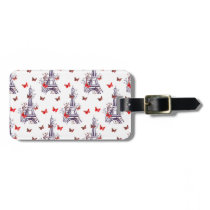 Parisian Romantic Purple Eiffel Tower Butterflies Luggage Tag