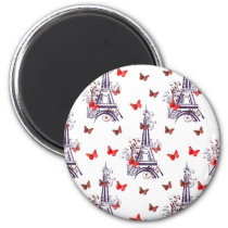 Parisian Romantic Purple Eiffel Tower Butterflies Magnet