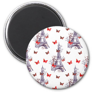 Parisian Romantic Purple Eiffel Tower Butterflies Magnet