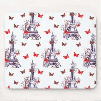 Parisian Romantic Purple Eiffel Tower Butterflies Mouse Pad