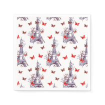 Parisian Romantic Purple Eiffel Tower Butterflies Paper Napkin